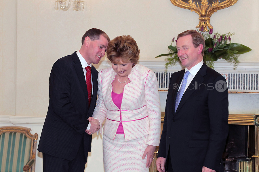9/3/11 Government Chief Whip Designate Paul Kehoe with President Mary McAleese and Taoiseach Enda Kenny at Aras An Uachtarain for the appoinment of the Government. Pictures:Arthur Carron/Collins