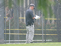 An evidence technician makes notes as part of the crime scene activity after a gunman opened fire on members of Congress who were practicing for the annual Congressional baseball game in Alexandria, Virginia on Wednesday, June 14, 2017.<br /> Credit: Ron Sachs / CNP/MediaPunch<br /> (RESTRICTION: NO New York or New Jersey Newspapers or newspapers within a 75 mile radius of New York City)