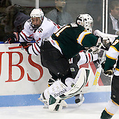 Steve Morra (NU - 12), Ben McFarlane (St. Thomas - 31) - The Northeastern University Huskies defeated the St. Thomas Tommies 7-5 in their exhibition match on Saturday, October 3, 2009, at Matthews Arena in Boston, Massachusetts.