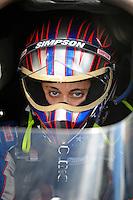 Nov 11, 2010; Pomona, CA, USA; NHRA top alcohol dragster driver Megan McKernan during qualifying for the Auto Club Finals at Auto Club Raceway at Pomona. Mandatory Credit: Mark J. Rebilas-