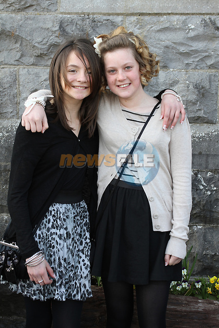 Rebecca O'Reilly and Michaela Farnan at Tullyallen NS. Confirmation...(Photo credit should read Jenny Matthews www.newsfile.ie)....This Picture has been sent you under the conditions enclosed by:.Newsfile Ltd..The Studio,.Millmount Abbey,.Drogheda,.Co Meath..Ireland..Tel: +353(0)41-9871240.Fax: +353(0)41-9871260.GSM: +353(0)86-2500958.email: pictures@newsfile.ie.www.newsfile.ie.