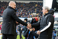 Burnley manager Sean Dyche (left) greets Crystal Palace manager Roy Hodgson ahead of kick-off<br /> <br /> Photographer Rich Linley/CameraSport<br /> <br /> The Premier League - Burnley v Crystal Palace - Saturday 30th November 2019 - Turf Moor - Burnley<br /> <br /> World Copyright © 2019 CameraSport. All rights reserved. 43 Linden Ave. Countesthorpe. Leicester. England. LE8 5PG - Tel: +44 (0) 116 277 4147 - admin@camerasport.com - www.camerasport.com