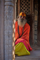 Sadhus at the Pashupati Templs and cremation area Kathmandu, Nepal