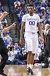 Forward Marcus Lee of the Kentucky Wildcats walks off the court after being fouled out during the game against the Mississippi State Bulldogs at Rupp Arena on January 20, 2015 in Lexington, Kentucky. Photo by Taylor Pence