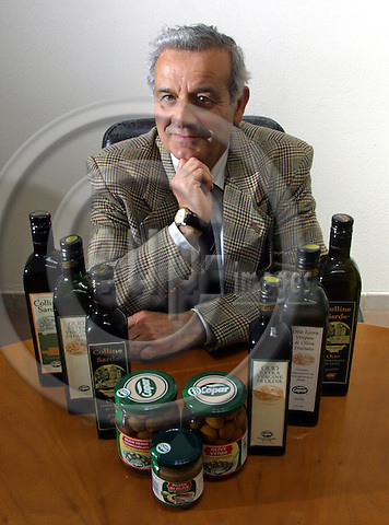 DOLIANOVA - ITALY / SARDINA 05 MAY 2001--The Director of the factory Copar, Mr. Emanuel ZUDDAS with olive products of his factory in the Sardinian city Dolianova.-- PHOTO: JUHA ROININEN / EUP-IMAGES