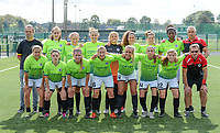 20180915 - Brugge , BELGIUM : the players of Eendracht Aalst pictured posing for the teampicture with Pieter De Schrijver , Francesca Van Oudheusden , Marijke Callebaut , Lisa Jacobs , Riet Maes , Solange Laurence Marchal , Jana Van Der Biest , Henriette Awete , Coach Dirk Decoen , Nina Vindevoghel , Lieselot De Kegel , Chloe Van Mingeroet , Evy De Smedt ,  Daisy Baudewijns , Anke Vanhooren , Isabel Scevenels and Daniel De Winter (r)  during the third game in the first division season 2018-2019 between the women teams of Club Brugge Dames and Eendracht Aalst , Saturday 15 September 2018 . PHOTO DAVID CATRY | SPORTPIX.BE