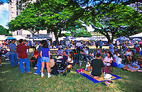 "Food, fun and entertainment at the """"taste of Honolulu festival"""". Families enjoying the festival"