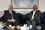 Palestinian President Mahmoud Abbas meets with assistant of  the Popular Front for the Liberation of Palestine Secretary General Talal Naji, in The Syrian Capital of Damascus.