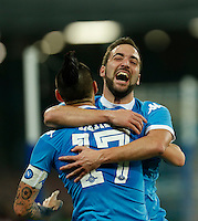 Napoli's Gonzalo Higuain celebrates after scoring during the  italian serie a soccer match,between SSC Napoli and Sassuolo    at  the San  Paolo   stadium in Naples  Italy ,Napoli  wins  3-1