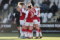 Beth Mead of Arsenal scores the second goal for her team and celebrates with her team mates during Arsenal Women vs Yeovil Town Ladies, FA Women's Super League FA WSL1 Football at Meadow Park on 11th February 2018