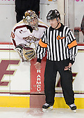Chris Venti (BC - 30), Jeff Bunyon - The Boston College Eagles defeated the Merrimack College Warriors 4-2 to give Head Coach Jerry York his 900th collegiate win on Friday, February 17, 2012, at Kelley Rink at Conte Forum in Chestnut Hill, Massachusetts.