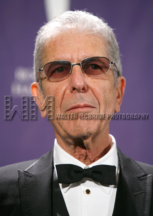 Leonard Cohen attending the 2008 ROCK AND ROLL HALL OF FAME Induction Ceremony at the Waldorf Astoria Hotel in New York City.<br />March 10, 2008
