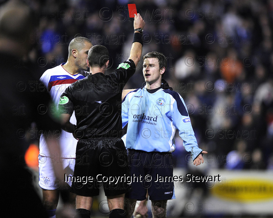 18/02/2009  Copyright Pic: James Stewart.File Name : sct_jspa11_forfar_v_rangers.ELLIOT SMITH IS SENT OFF. James Stewart Photo Agency 19 Carronlea Drive, Falkirk. FK2 8DN      Vat Reg No. 607 6932 25.Studio      : +44 (0)1324 611191 .Mobile      : +44 (0)7721 416997.E-mail  :  jim@jspa.co.uk.If you require further information then contact Jim Stewart on any of the numbers above.........