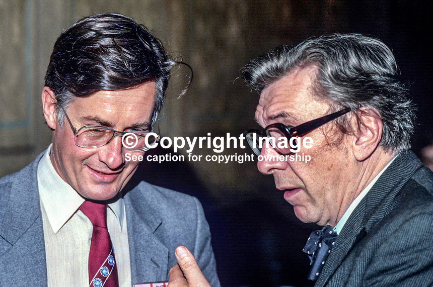 Michael Meacher, MP, Labour Party, UK, left, in conversation with Robin Day, broadcaster, journalist, host, Any Questions?  19840124MM+RD.<br /> <br /> Copyright Image from Victor Patterson, 54 Dorchester Park, <br /> Belfast, UK, BT9 6RJ<br /> <br /> t1: +44 28 9066 1296 (from Rep of Ireland 048 9066 1296)<br /> t2: +44 28 9002 2446 (from Rep of Ireland 048 9002 2446)<br /> m: +44 7802 353836<br /> <br /> e: victorpatterson@me.com<br /> www.victorpatterson.com<br /> <br /> Please see my Terms and Conditions of Use at www.victorpatterson.com. It is IMPORTANT that you familiarise yourself with them.<br /> <br /> Images used on the Internet must be visibly watermarked i.e. &copy; Victor Patterson<br /> within the body of the image and copyright metadata must not be deleted. Images <br /> used on the Internet have a size restriction of 4kbs and will be chargeable at current<br />  NUJ rates unless agreed otherwise.<br /> <br /> This image is only available for the use of the download recipient i.e. television station, newspaper, magazine, book publisher, etc, and must not be passed on to any third <br /> party. It is also downloaded on condition that each and every usage is notified within 7 days to victorpatterson@me.com<br /> <br /> The right of Victor Patterson to be identified as the author is asserted in accordance with The Copyright Designs And Patents Act (1988). All moral rights are asserted.