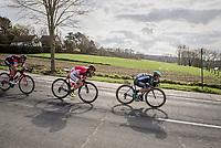 tucked speeding by Lukas P&ouml;stlberger (AUT/Bora-Hansgrohe), Cyril Lemoine (FRA/Cofidis) &amp; Dylan Teuns (BEL/BMC)<br /> <br /> 72nd Dwars Door Vlaanderen (1.UWT)<br /> 1day race: Roeselare &rsaquo; Waregem BEL (203.4km)