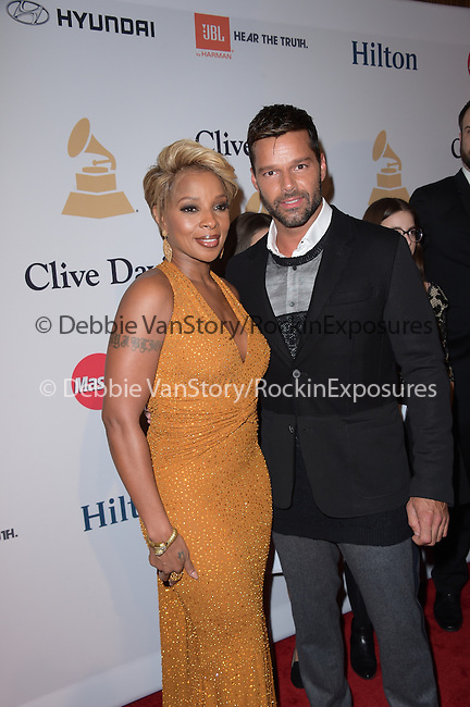 Mary J. Blige and Ricky Martin attends the 2015 Pre-GRAMMY Gala & GRAMMY Salute to Industry Icons with Clive Davis at the Beverly Hilton  in Beverly Hills, California on February 07,2015                                                                               © 2015 Hollywood Press Agency