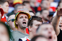 A Wale supporter cheers his team on during the UEFA EURO 2020 Qualifier match between Wales and Slovakia at the Cardiff City Stadium, Cardiff, Wales, UK. Sunday 24 March 2019