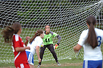 A South Williamsport High School goal keeper keeps an eye on the action downfield.