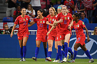 20190702 - LYON , FRANCE : American Christen Press (23) pictured celebrating her goal and the 0-1 lead for USA during the female soccer game between England  - the Lionesses - and The United States of America  – USA - , a knock out game in the semi finals of the FIFA Women's  World Championship in France 2019, Tuesday 2 nd July 2019 at the Stade de Lyon  Stadium in Lyon  , France .  PHOTO SPORTPIX.BE | DAVID CATRY