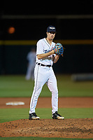 Lakeland Flying Tigers relief pitcher Max Green (1) during a Florida State League game against the Tampa Tarpons on April 5, 2019 at Publix Field at Joker Marchant Stadium in Lakeland, Florida.  Lakeland defeated Tampa 5-3.  (Mike Janes/Four Seam Images)