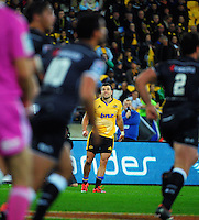 James Marshall watches his sideline conversion attempt during the Super Rugby match between the Hurricanes and Sharks at Westpac Stadium, Wellington, New Zealand on Saturday, 9 May 2015. Photo: Dave Lintott / lintottphoto.co.nz