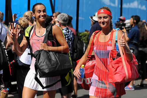 22.01.2016. Melbourne Park, Melbourne, Australia, Australian Open Tennis Championships.  Caroline Garcia (FRA)and Kristina Mladenovic (FRA)arrive on court