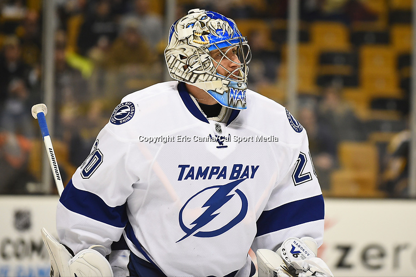 January 13, 2015 - Boston, Massachusetts, U.S. - Tampa Bay Lightning goalie Evgeni Nabokov (20) warms up before the NHL match between the Tampa Bay Lightning and the Boston Bruins held at TD Garden in Boston Massachusetts. Boston defeated Tampa Bay 4-3 in regulation time. Eric Canha/CSM