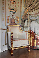 "Bergere, 1806, Jacob-Desmalter, magohany, ormolu, white silk velvet, Turkish Boudoir, redesigned in 1777 for Marie Antoinette, by architect Richard Mique, Chateau de Fontainebleau, France. The decoration is the achievement of the brothers Rousseau, and the furniture dates to the period of the First Empire, with precious textile work done by Jacob-Desmalter for Empress Josephine. Including a small bedroom, mirrors, and curtains raised by pulleys, this exceptional ensemble has been restored in 2014 thanks to the support of INSEAD and the generosity of subscribers of sponsors belonging to the group ""Des Mécènes pour Fontainebleau"". Its opening to the public is scheduled for Spring 2015. Picture by Manuel Cohen"