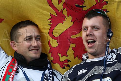 15.02.2015.  Edinburgh, Scotland. 6 Nations Championship. Scotland versus Wales.  Scottish fans.