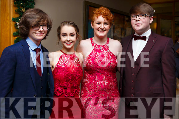 Attending the Mercy Mounthawk debs in the Ballyroe Heights Hotel on Thursday night last, l to r, Gerard Cantilly (Tralee), Ciara O'Connor (Tralee), Debra Mangan (Tralee) and Jake Quill (Tralee)