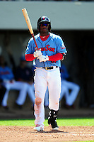 Pawtucket Red Sox center fielder Rusney Castillo (10) during a game versus the Columbus Clippers at McCoy Stadium in Pawtucket, Rhode Island on May 17,2015.  (Ken Babbitt/Four Seam Images)