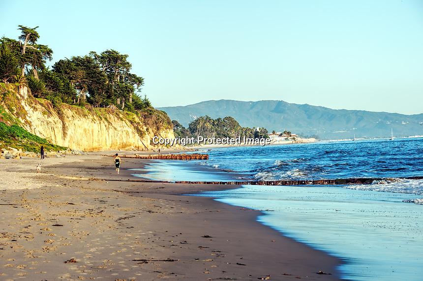 An evening view one beautiful January day on Butterfly Beach, Santa Barbara, California.