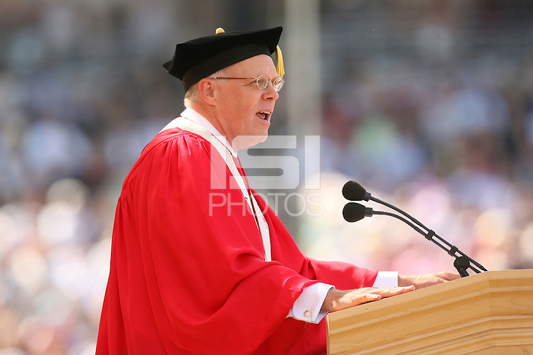 STANFORD, CA - June 15:  President John Hennessy during the 117th Commencement Ceremony on June 15, 2008 at Stanford Stadium in Stanford, Caliifornia.