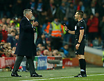 Referee Carlos Del Cerro Grande speaks to Carlo Ancelotti manager of Napoli during the UEFA Champions League match at Anfield, Liverpool. Picture date: 27th November 2019. Picture credit should read: Andrew Yates/Sportimage