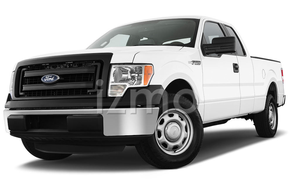Low aggressive front three quarter view of a 2013 Ford F150 XL Super Cab