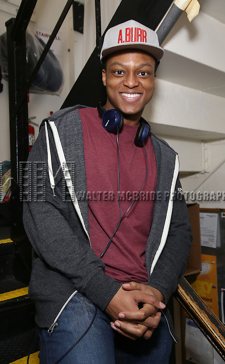 J. Quinton Johnson backstage before the cast Q & A for The Rockefeller Foundation and The Gilder Lehrman Institute of American History sponsored High School student matinee performance of  'Hamilton' at the Richard Rodgers Theatre on 2/8/2017 in New York City.
