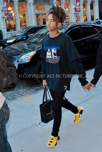 www.acepixs.com<br /> <br /> September 11 2016, New York City<br /> <br /> Jaden Smith walks in Soho with his girlfriend Sarah Snyder on September 11 2016 in New York City<br /> <br /> By Line: Curtis Means/ACE Pictures<br /> <br /> <br /> ACE Pictures Inc<br /> Tel: 6467670430<br /> Email: info@acepixs.com<br /> www.acepixs.com