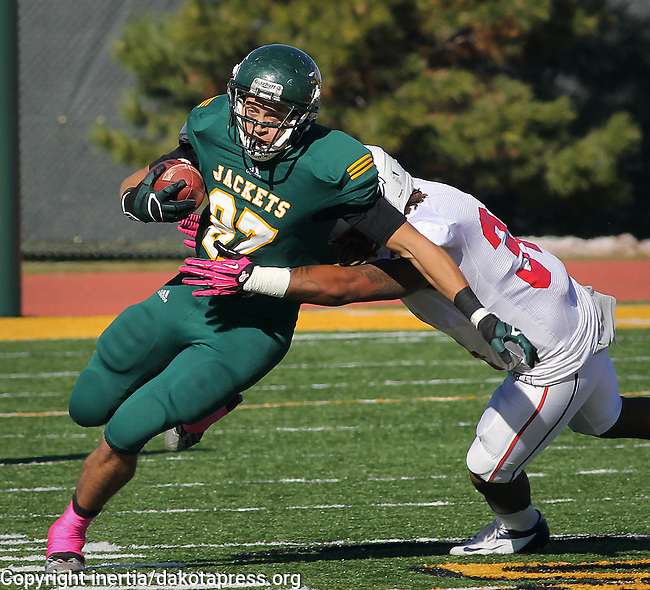 SPEARFISH, SD - OCTOBER 26, 2013:  Luke Whalen #87 of Black Hills State tries to shed a tackler from Colorado State - Pueblo during their Rocky Mountain Athletic Conference game Saturday at Lyle Hare Stadium in Spearfish, S.D. CSU-Pueblo won 51-17. (Photo by Dick Carlson/Inertia)