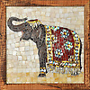 Custom 14x14 inch Elephant in jewel glass and Swarovski crystal accents.