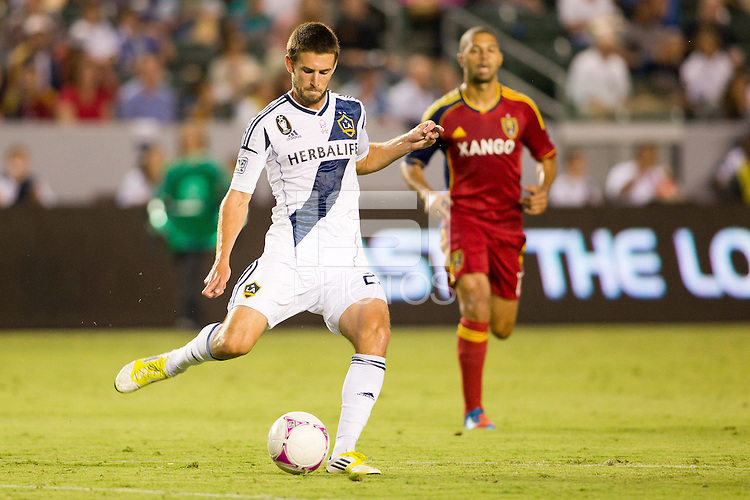 CARSON, California - October 6, 2012: Real Salt Lake defeated the LA Galaxy 2-1 during a Major League Soccer (MLS) game at Home Depot Center stadium.