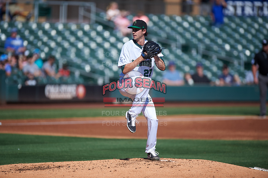 Surprise Saguaros starting pitcher Daniel Lynch (27), of the Kansas City Royals organization, during the Arizona Fall League Championship Game against the Salt River Rafters on October 26, 2019 at Salt River Fields at Talking Stick in Scottsdale, Arizona. The Rafters defeated the Saguaros 5-1. (Zachary Lucy/Four Seam Images)