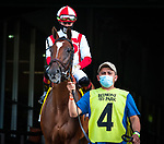 June 27, 2020: Newspaperofrecord, ridden by Irad Ortiz Jr., wins the G1 First Lady S. at Belmont Park in Elmont, NY. Sophie Shore/ESW/CSM