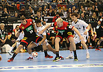 10.01.2019, Mercedes Benz Arena, Berlin, GER, Handball WM 2019, Deutschland vs. Korea, im Bild <br /> Martin Strobel (GER #19), Patrick Wiencek (GER #7), JI Hyung Jin (Korea #2), KIM Yeonbin (Korea #11)<br />      <br /> Foto © nordphoto / Engler