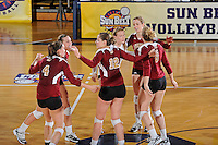 17 November 2011:  Denver's team celebrates winning a point in second set as the FIU Golden Panthers defeated the Denver University Pioneers, 3-1 (25-21, 23-25, 25-21, 25-18), in the first round of the Sun Belt Conference Tournament at U.S Century Bank Arena in Miami, Florida.
