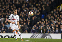 Kevin Wimmer of Tottenham Hotspur plays the ball forward during the UEFA Europa League 2nd leg match between Tottenham Hotspur and Fiorentina at White Hart Lane, London, England on 25 February 2016. Photo by Andy Rowland / Prime Media images.