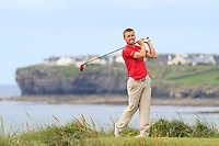 Declan Loftus (Castlebar) on the 12th tee during Round 3 of The South of Ireland in Lahinch Golf Club on Monday 28th July 2014.<br /> Picture:  Thos Caffrey / www.golffile.ie