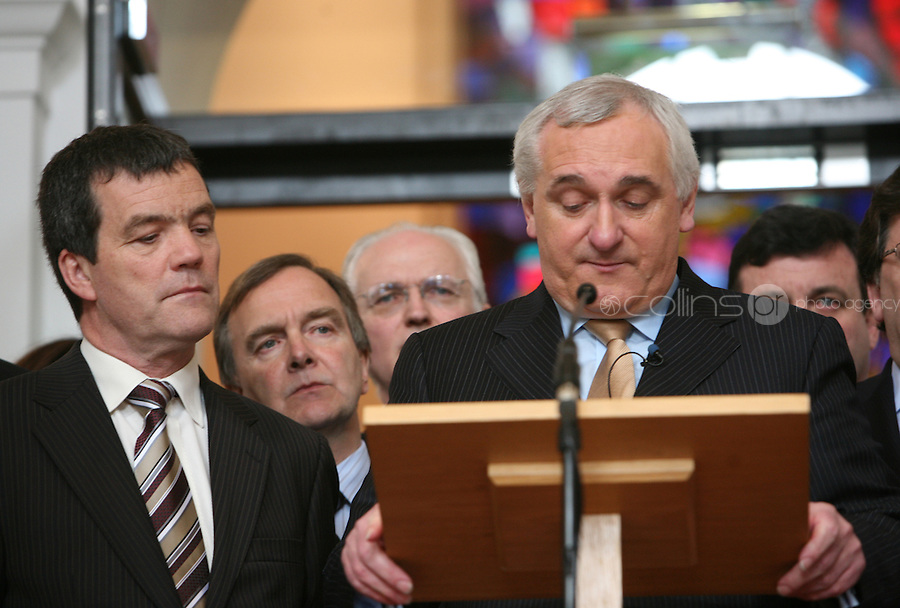 02/04/2008 .An Taoiseach Bertie Ahern TD surrounded by government colleagues at Government buildings, Dublin during an announcement that he will tender his resignation to President Mary McAleese on 6 May. .Photo: Gareth Chaney Collins