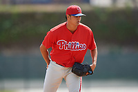 Philadelphia Phillies pitcher Jordan Kurokawa (57) looks in for the sign during a minor league Spring Training game against the Pittsburgh Pirates on March 24, 2017 at Carpenter Complex in Clearwater, Florida.  (Mike Janes/Four Seam Images)