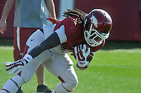 NWA Democrat-Gazette/Michael Woods --03/31/2015--w@NWAMICHAELW... University of Arkansas running back Alex Collins runs drills during Tuesday afternoons practice in Fayetteville.