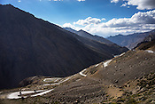 Motorcyclists ride down the curvy roads along the Leh Manali highway in Ladakh region.